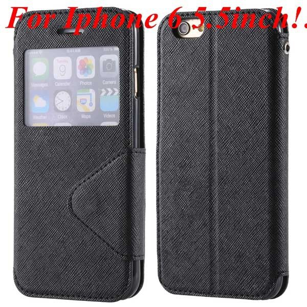 I6 Plus Window Case Pu Leather View Cover For Iphone 6 4.7Inch/5.5 32268160034-8-black for plus