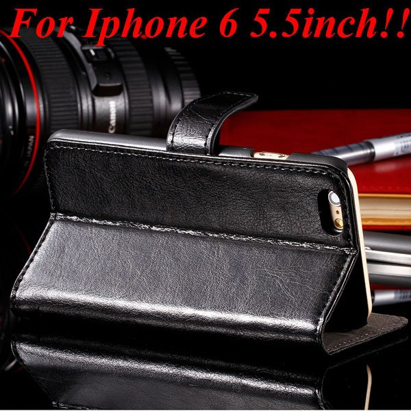 I6 Plus Full Wallet Case For Iphone 6 Plus 5.5Inch Genuine Leather 32236038192-1-black