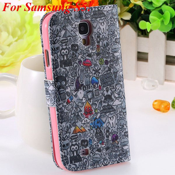 Colorful Mat Pattern Wallet Case For Samsung Galaxy S4 I9500 S5 I9 1925779940-15-S5 gray wizard