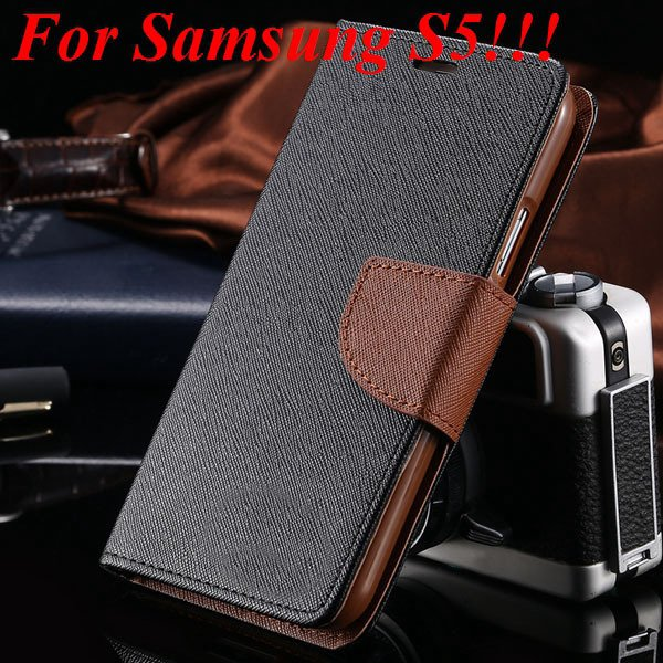 Flip Full Pu Leather Cover Case For Samsung Galaxy S5 I9600 S4 I95 1778570122-13-black brown for s5