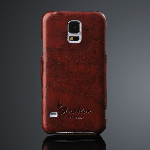 Newest Grease Glazed Pu Leather Wallet Cover For Samsung Galaxy S5 2046059776-5-brown