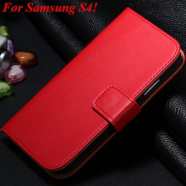 S3 S4 Genuine Leather Stand Case For Samsung Galaxy S3 Siii I9300  1335833839-11-red for S4