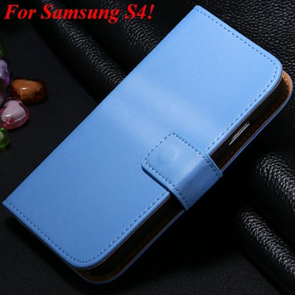 S3 S4 Genuine Leather Stand Case For Samsung Galaxy S3 Siii I9300  1335833839-15-blue for S4