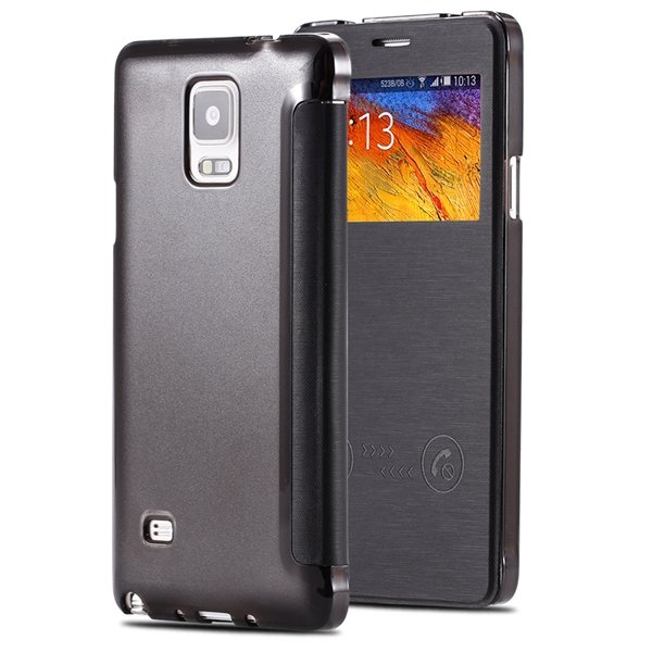 For Note 4 Free Answer Smart Case Pu Leather Window View Cover For 32236274626-2-black