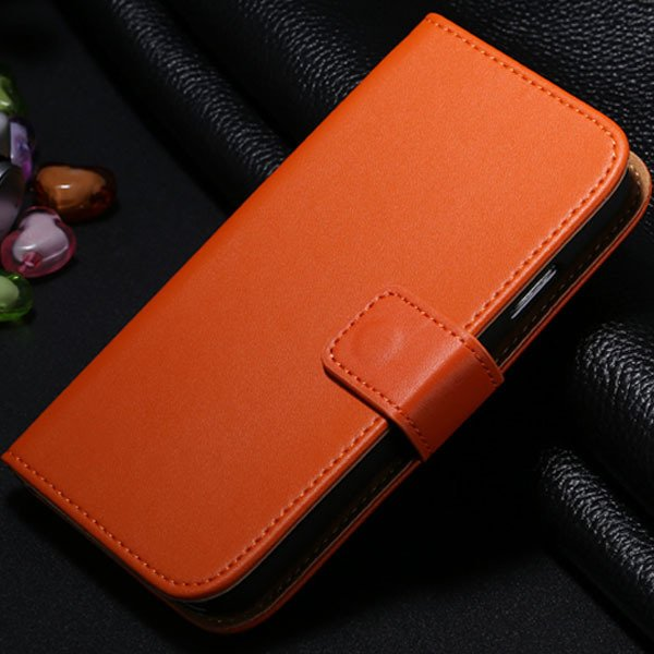 S4 Genuine Leather Case Flip Wallet Cover For Samsung Galaxy S4 Si 1772230456-8-orange