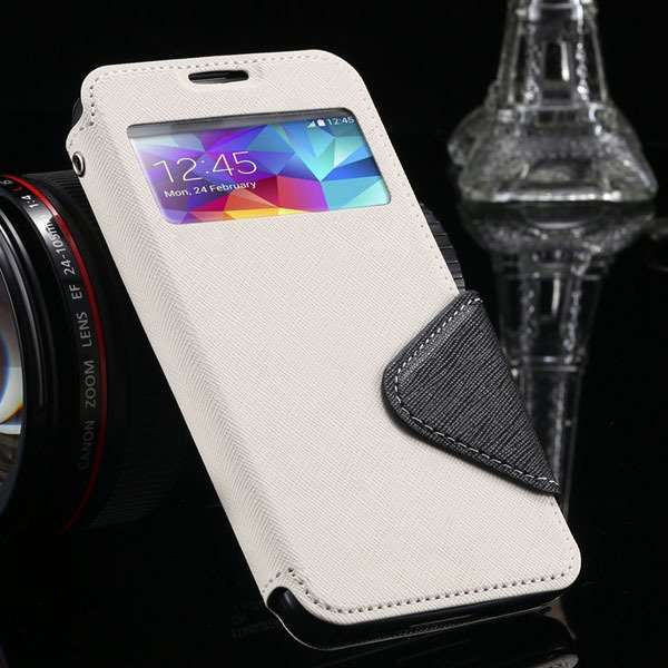 S5 Full Case For Samsung Galaxy S5 Sv I9600 Flip View Screen Leath 1877345880-3-white