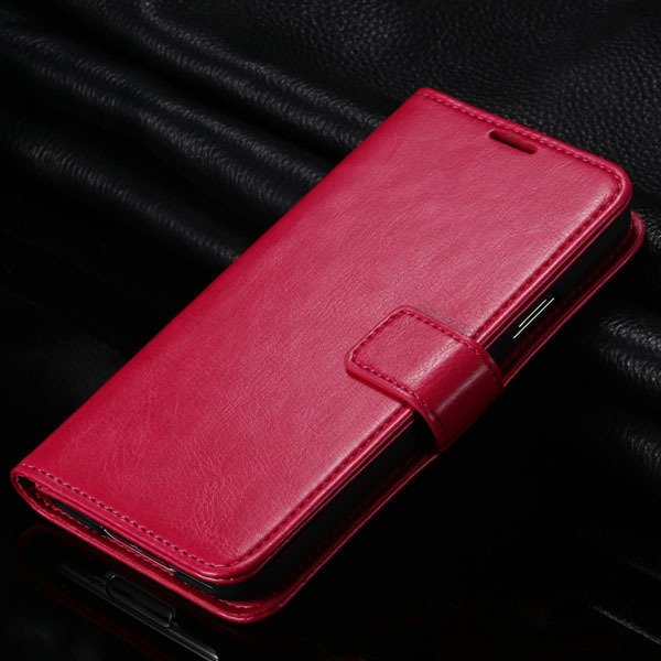 S5 Pu Leather Case For Samsung Galaxy S5 Sv I9600 Folio Flip Cover 1823146791-6-hot pink