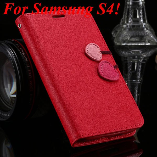 S5 S4 Cute Wallet Book Case Flip With Heart Shape Magnetic Buckle  1878960233-1-red for S4