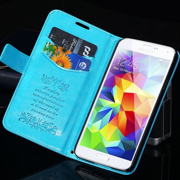 S5 Flip Case With Card Insert Full Protect Cover For Samsung Galax 1871229003-4-blue