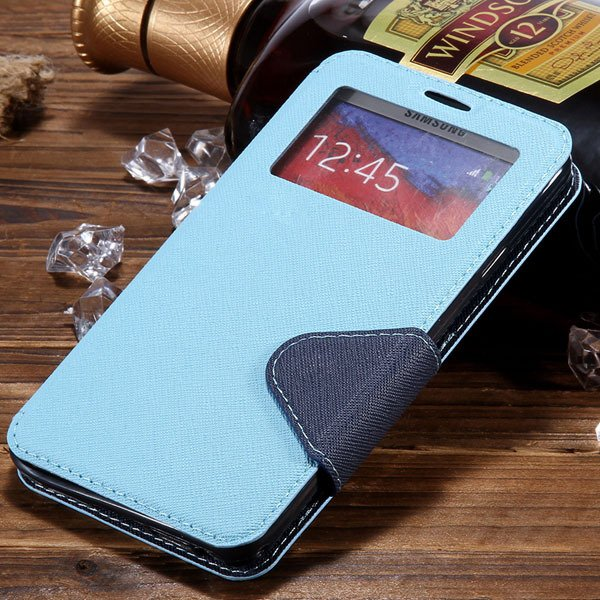 For Note 3 Window Case Full Protect Cover For Samsung Galaxy Note  1961130524-5-sky blue
