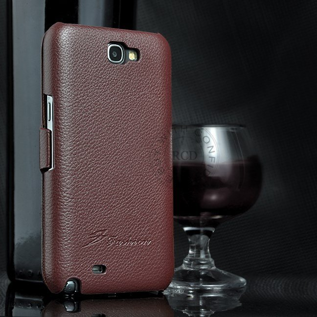 100% Retro Style Real Cowhide Flip Cover For Samsung Galaxy Note2  1064100675-5-Brown
