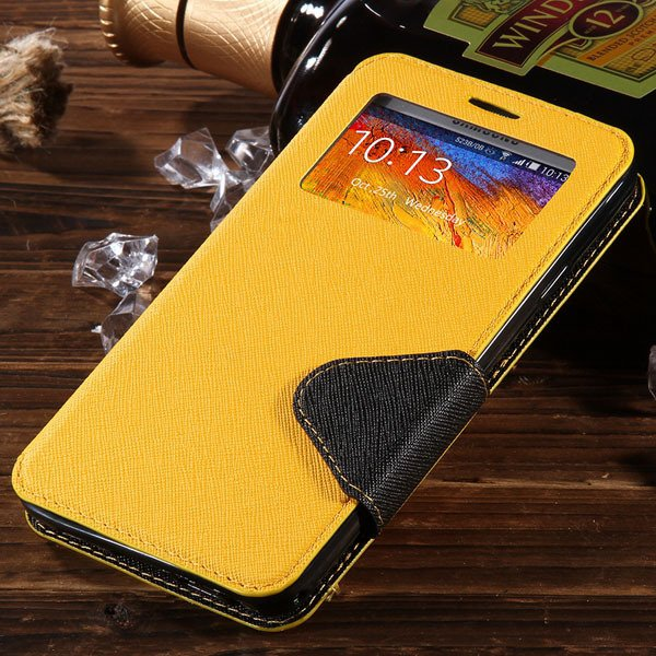 For Note 3 View Case Flip Cell Phone Cover For Samsung Galaxy Note 1961185459-3-yellow