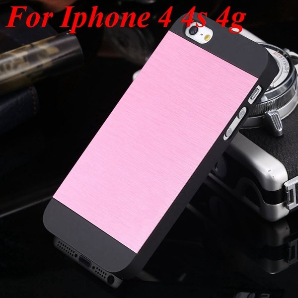 4S 5S Back Case Luxury Metal Brush Aluminum Cover For Iphone 4 4S  1850110222-12-pink for 4S