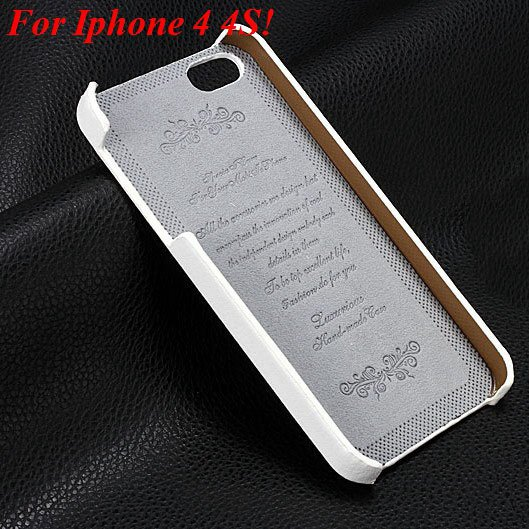 4S 5S Genuine Leather Case Original Real Cowhide Leather Cover For 1551484355-10-white for 4s