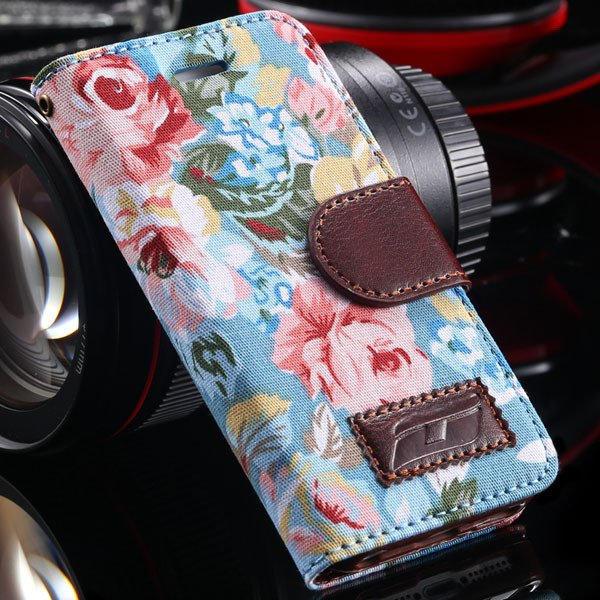 5C Luxury Pu Leather Case Flower Floral Flip Cover For Iphone 5C C 1330853634-3-blue