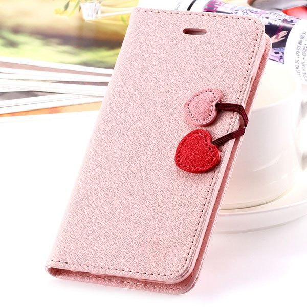 Top Quality Lovable Heart Stand Case For Iphone 5 5S 5G Pu Leather 1035910041-4-pink for 5S