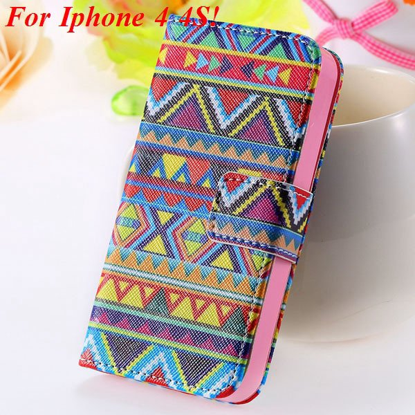 Matt Color Printed Flip Leather Case For Iphone 4 4S 4G 5 5S 5G Wa 1925063846-2-4s Big Cultral Style