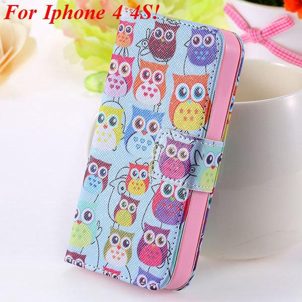 Matt Color Printed Flip Leather Case For Iphone 4 4S 4G 5 5S 5G Wa 1925063846-5-4s Many Owls