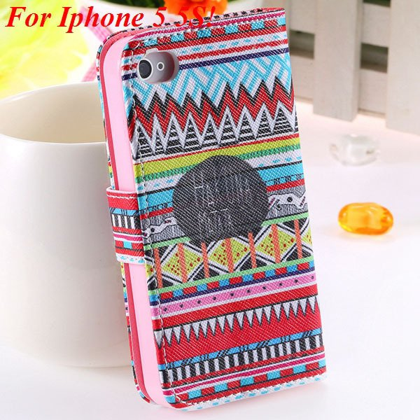 Matt Color Printed Flip Leather Case For Iphone 4 4S 4G 5 5S 5G Wa 1925063846-18-5s Small Cultral