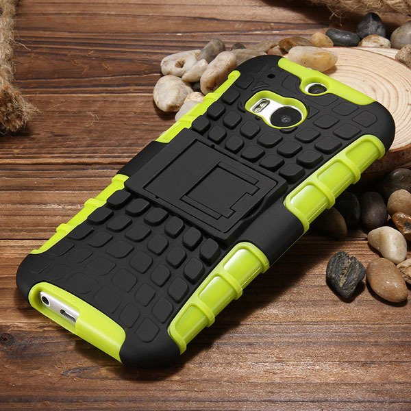 M8 Armor Heavy Duty Hard Cover Case For Htc One M8 Dual Layer Sili 32294281901-3-green