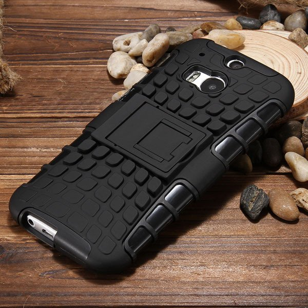 M8 Armor Heavy Duty Hard Cover Case For Htc One M8 Dual Layer Sili 32294281901-7-black