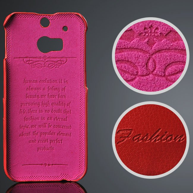 M8 Genuine Leather Case Vogue Fashion Card Insert Back Cover For H 32237300662-2-red