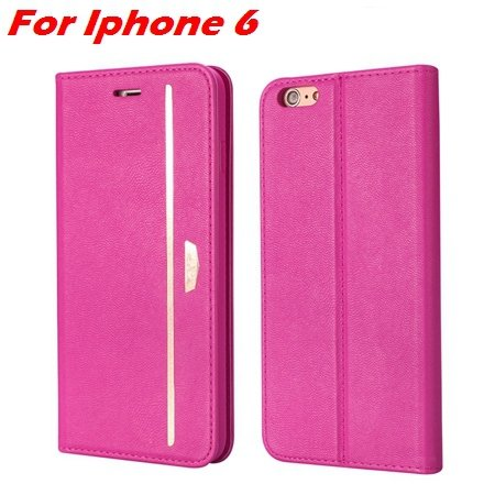 Luxury Fashion High Quality Leather Case For Iphone 6 Flip Case St 2055637345-9-Hot Pink For Iphone