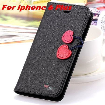 Newest Girl'S Cute Cherry Leather Case For Iphone 6 & Iphone 6 Plu 32214517740-7-Black For I6 Plus