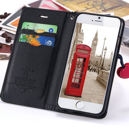 Newest Girl'S Cute Cherry Leather Phone Cases For Iphone 6 Case St 2054232220-1-Black