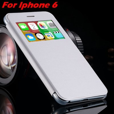 For Iphone 6 Leather Case Front Window View Pu Leather Case For Ip 32256469102-2-White For IPHONE 6