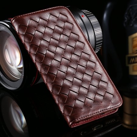 Luxury Handmade Knitting Waving Leather Case For Iphone 6 4.7Inch  32266096071-5-Brown