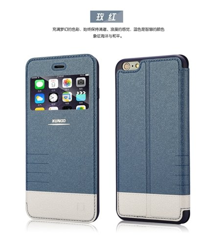 2015 Gold Luxury Flip Pu Leather Case For Iphone 6 4.7Inch Open Wi 2055091619-3-Blue