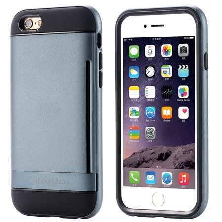 For Iphone6 Kickstand Card Slot Pc + Tpu Hybird Armor Case For Iph 32305097639-3-Navy Blue