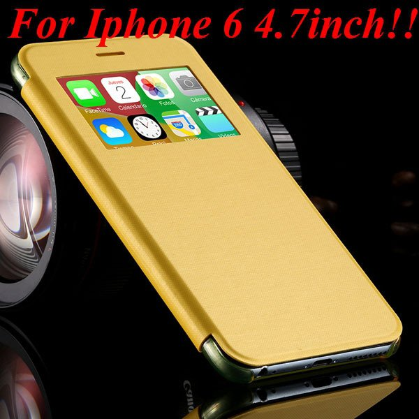 I6 Window View Case For Iphone 6 4.7Inch/5.5Inch Plus Full Wallet  32232345815-5-yellow for iphone 6