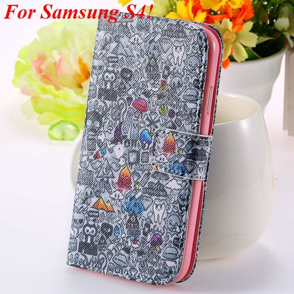 S5 S4 Case Flip Pu Leather Cover For Samsung Galaxy S5 I9600 S4 I9 1925680254-6-s4 gray wizard