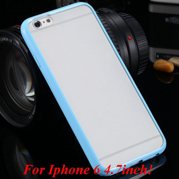 I6/6 Plus Mat Pc Back Case + Candy Color Tpu Frame Clear Cover For 2017247041-10-i6 light blue