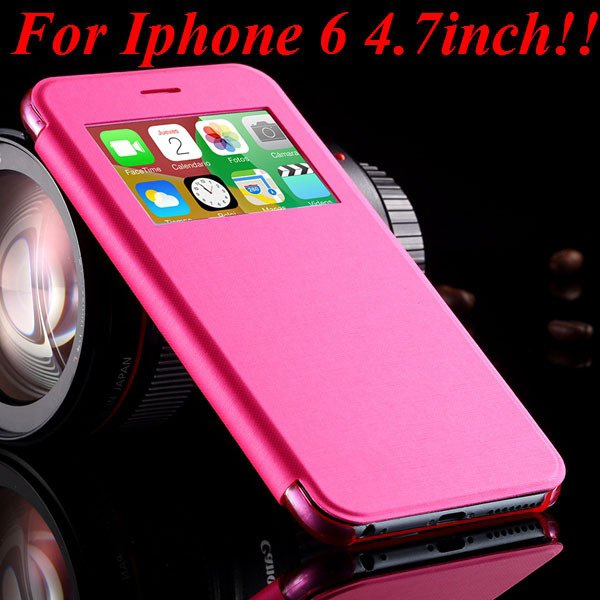 I6 Window View Case For Iphone 6 4.7Inch/5.5Inch Plus Full Wallet  32232345815-3-pink for iphone 6
