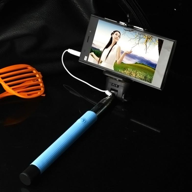 1 Pc Wired Selfie Stick Handheld Monopod Built-In Shutter Extendab 32276405608-1-