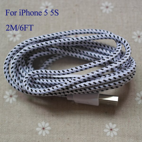 6Ft/2M 8Pin Braided Nylon Woven Wire Usb Date Sync Charging Charge 2008267243-1-