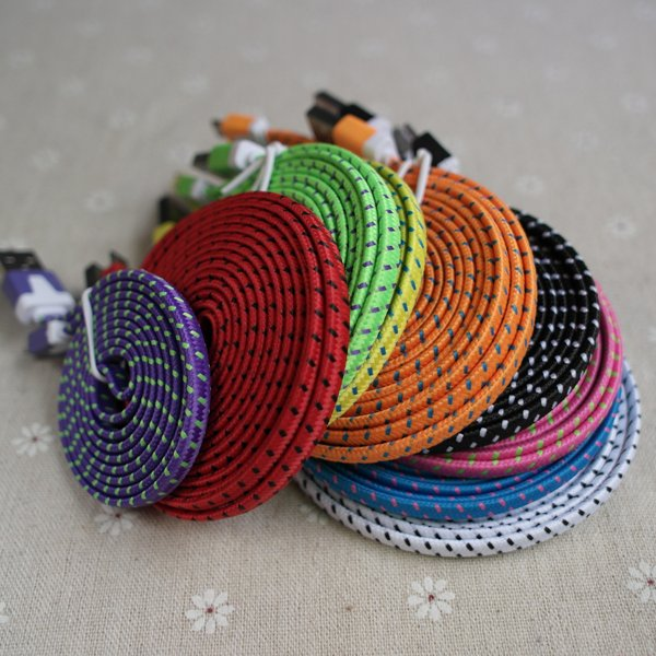 Colorful 3Ft/1M Braided Fabic Wire For Iphone 4 4S Noodle Flat 30P 2055351006-1-