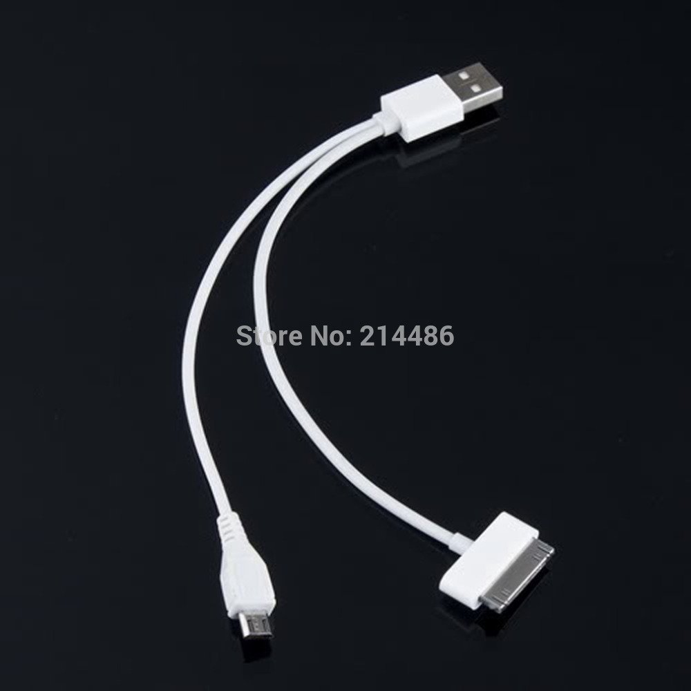 Usb Charger 2In1 Cable For Cellphone Micro Usb Phone -White 650172 650172519-1-