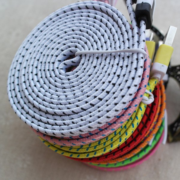 Colorful 3M/10Ft Flat Braided Faribic Woven Wire Micro Usb Sync Da 32229648904-1-