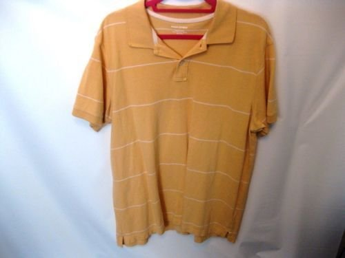 EUC Men's XL Banana Republic Yellow and White Cotton Polo Shirt
