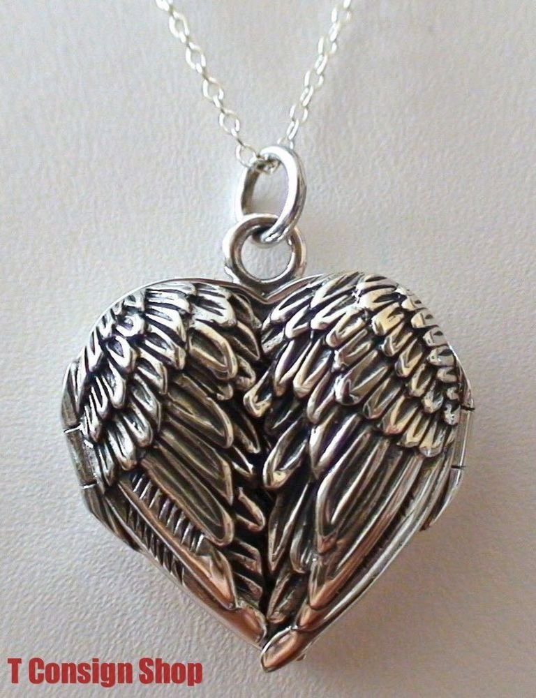 925 Sterling Silver Angel Wings Heart Locket Necklace - Guardian Memorial *NEW*