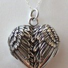 925 Sterling Silver Angel Wings Heart Locket Necklace - Guardian Memorial *NEW*