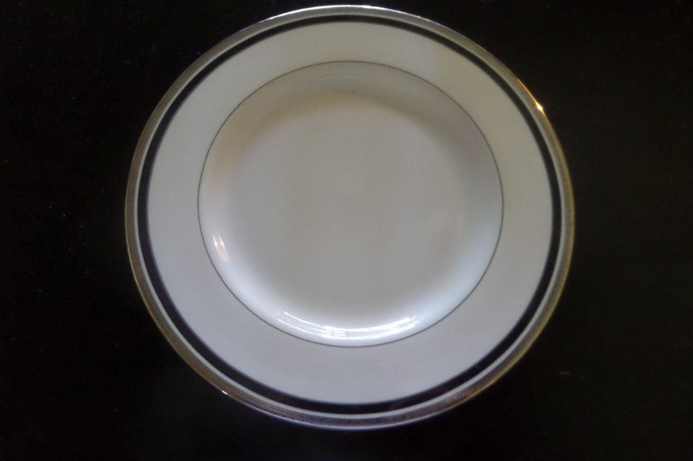 "4 PICKARD CHINA DIPLOMAT 10 3/4"" DINNER PLATE PLATINUM TRIM W/ BLACK BAND USA"