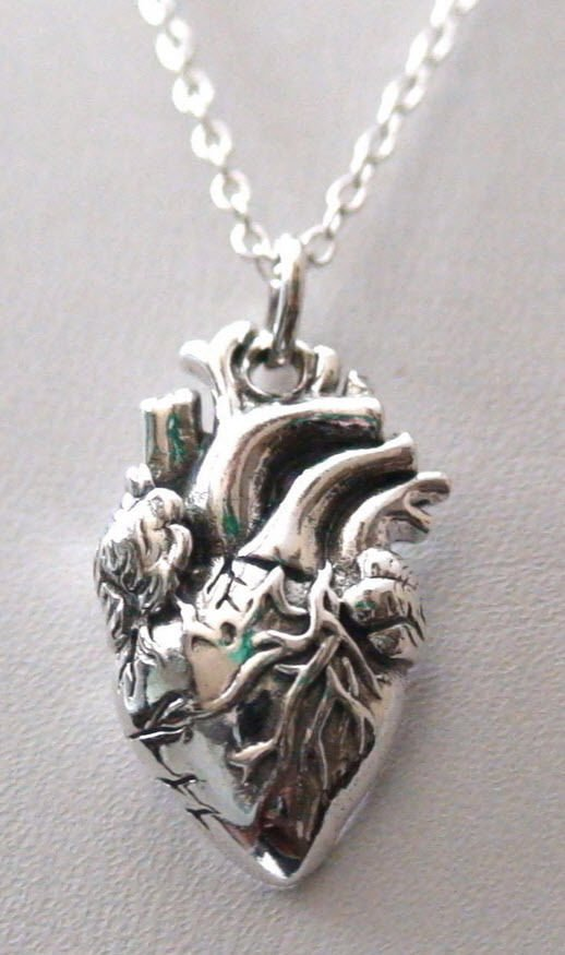 925 Sterling Silver Anatomical Heart Charm Necklace - Doctor Surgeon Heart Charm