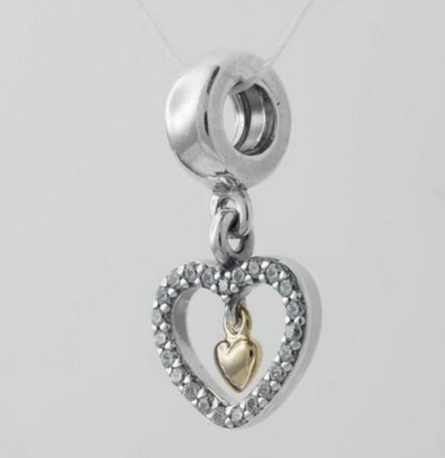 Authentic Genuine Pandora 2 Tone 14k Forever In My Heart Hanging Charm 791421CZ