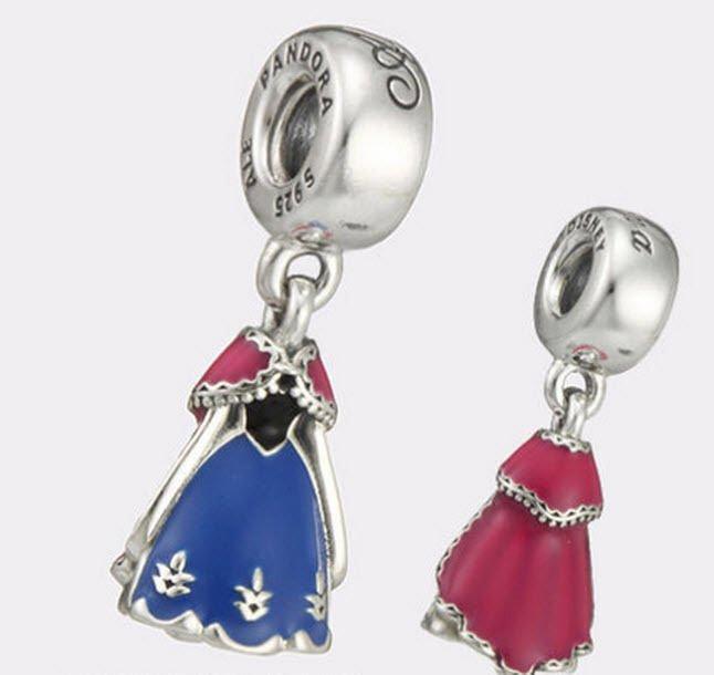 Authentic Pandora Silver Enamel Dangle Disney Anna Dress Bead 791591ENMX