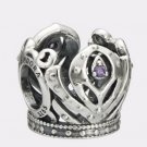Authentic Pandora Silver Disney Anna Crown Openwork Purple CZ Bead 791589ACZ
